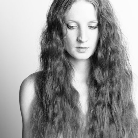 Woman in Black and White Long Hair