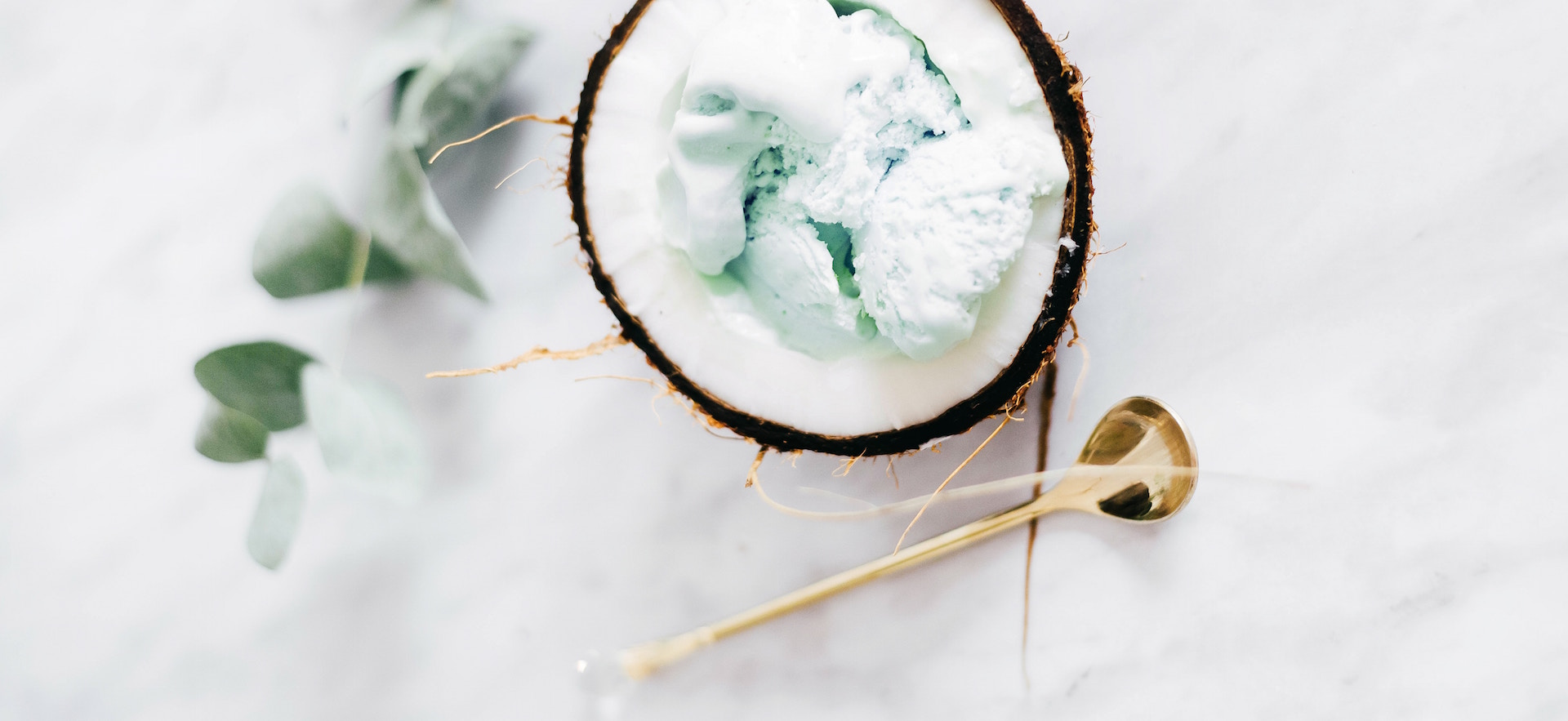 Healthy Coconut ice cream with avocado and almond milk