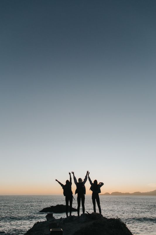 friends welcoming a new day, new moon